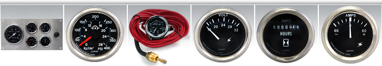 Manometros de presion de aceite para motor, manometros de temperatura de agua, tachometros, voltimetros, horometros, amperimetros mecanicos y electricos